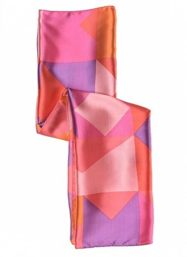 Monamoda Desenli Renkli Fular Pembe
